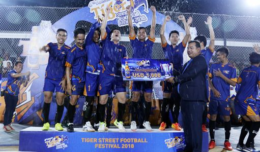 On January 28, Kampong Speu, ABA came out top in a close contest against their rivals Vitou MK in the final. They claimed the provincial prize of $1,000 and a ticket to the March grand final in Phnom Penh. The 6th Annual Tiger Street Football Festival also serves as a platform for talented players, aspiring footballers and anyone with a passion for the game to showcase their talent. PHOTO: Yuean Punlue