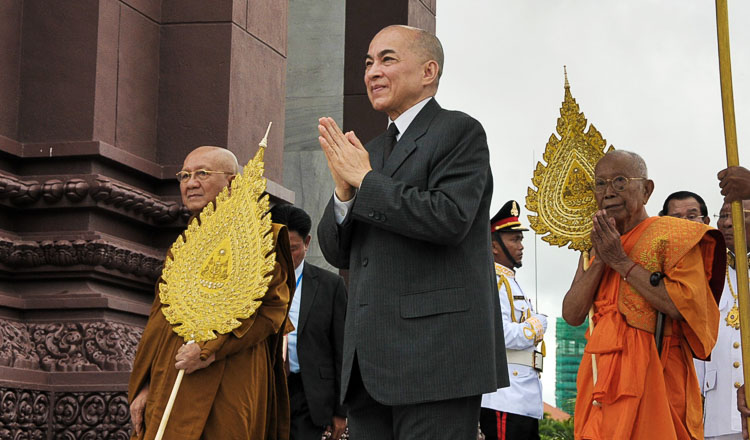 King Sihamoni marking Independence Day. Image: KT/Chor Sokunthea