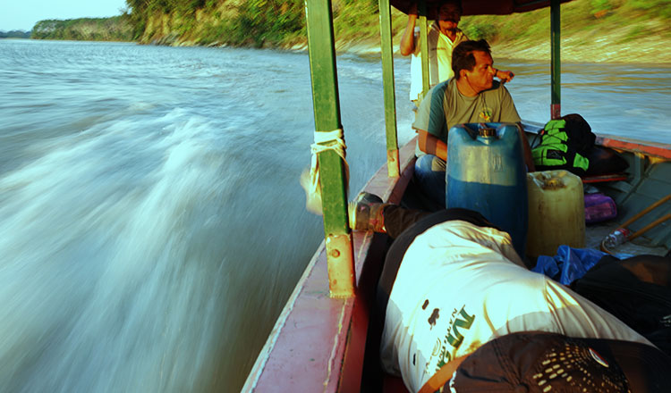 Victor Kameno, field coordinator for Fenamad, monitors the Alto Madre de Dios River to protect the Mashco Piro, an isolated tribe. Thomson Reuters Foundation