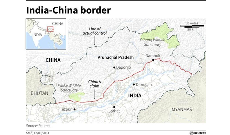 Indian pm confronted by angry protests in london khmer times map of arunachal pradesh one of the disputed area between china and india reuters gumiabroncs Choice Image
