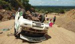 Tourist van overturned